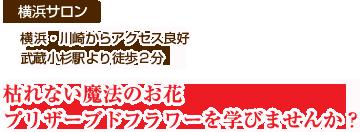 【横浜・川崎サロン】横浜・川崎からアクセス良好 武蔵小杉駅より徒歩2分 枯れない魔法のお花プリザーブドフラワー・アーティフィシャルフラワーで自分だけのアレンジを作りませんか?