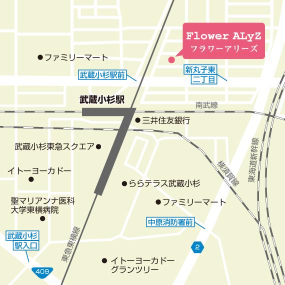 【地図】 横浜・川崎プリザーブドフラワー教室 フラワーアリーズ